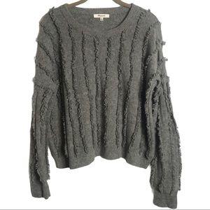 Madewell Grey Fringe Stripe Pullover Sweater